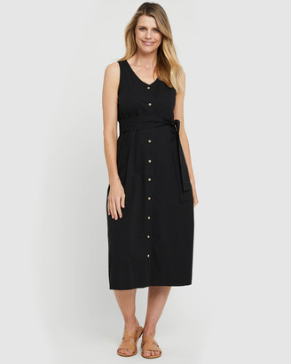 Bamboo Body - Women's Black Midi Dresses - Button Front Dress - Size One Size, XS at The Iconic