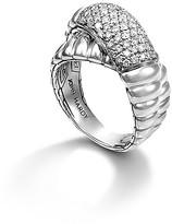 John Hardy Bedeg Silver Diamond Pavé Crossover Ring