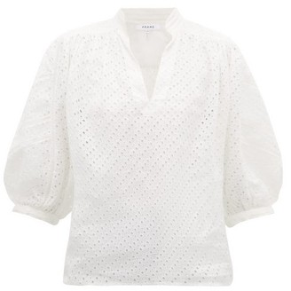 Frame Broderie Anglaise Ramie Blouse - White