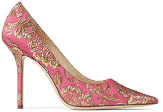 Jimmy Choo LOVE 100 Bubblegum-Pink and Gold Brocade Point-Toe Pumps