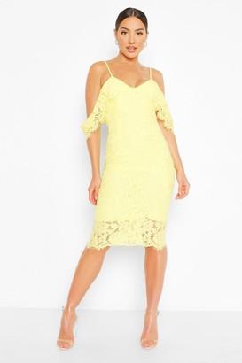 boohoo Lace Open Shoulder Midi Dress