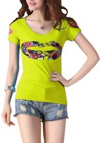 uxcell® Woman New Fashion Round Neck Studded Lips Prints Slim Fit Tops Xs