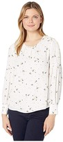 Vince Camuto Long Bubble Sleeve Whimsical Petals Blouse (Pearl Ivory) Women's Blouse
