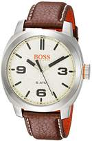 HUGO BOSS BOSS Orange Men's 'CAPE TOWN' Quartz Stainless Steel and Leather Casual Watch, Color:Brown (Model: 1513411)