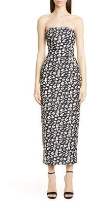 Brandon Maxwell Cheetah Print Shantung Strapless Tea Length Dress