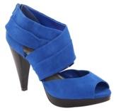 Cobalt Faux Suede Cross-Ankle Platform Heel