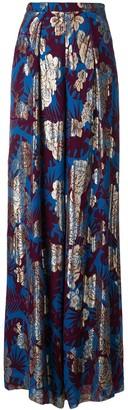 Talbot Runhof Metallic Floral Wide-Leg Trousers