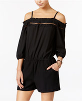 Amy Byer Juniors' Lace-Trim Cold-Shoulder Romper