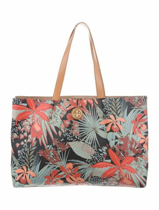 Tory Burch Floral Print Coated Canvas Tote Blue