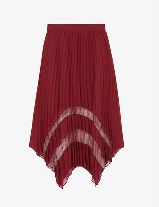 The Kooples Pleated lace and crepe skirt