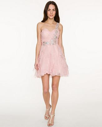 Le Château Sparkle Mesh One-Shoulder Dress