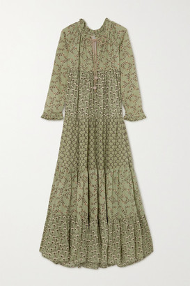 Yvonne S Hippy Tiered Printed Cotton-voile Maxi Dress - Army green