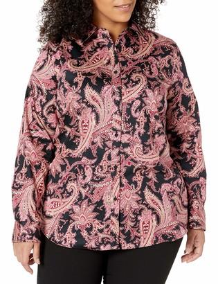 Chaps Women's Long Sleeve Non Iron Cotton Sateen-Shirt