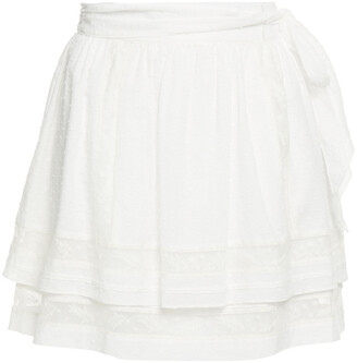 Joie Tiered Lace-trimmed Fil Coupe Cotton Mini Skirt