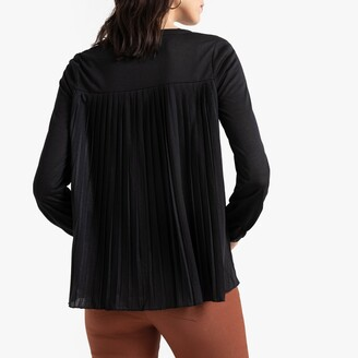 Anne Weyburn Dual Fabric T-Shirt with Pleated Back