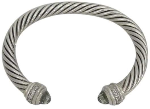 David Yurman 925 Sterling Silver Cable Albion Diamond Prasiolite Cuff Bracelet