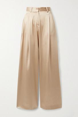 Nili Lotan Brixton Silk-satin Wide-leg Pants - Gold