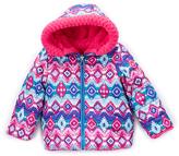Pacific Trail Pink & Purple Geometric Reversible Peacoat - Toddler & Girls