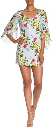 Milly Rose Print Flutter Sleeve Silk Dress