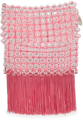 Rosantica Groove Transparent Beaded Clutch Bag, Bright Pink
