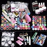 iMeshbean 42 IN 1 Nail Art Set Acrylic Nail Powder Glitter Brush Fake Finger Pump Design Nail Art Tools Kit Set for Professional and Home Use USA