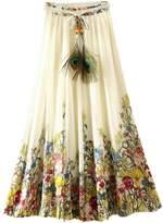 Encontrar Women Floral Printed Pleated Bohemian Beach Skirts Chiffon Long Dresses