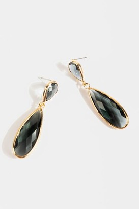 francesca's Finley Double Teardrop Earrings - Gray