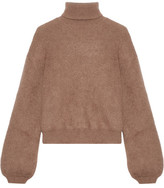 Tom Ford Cropped Silk-blend Turtleneck Sweater - Brown