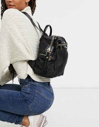 ASOS DESIGN backpack with chunky zip and croc detail