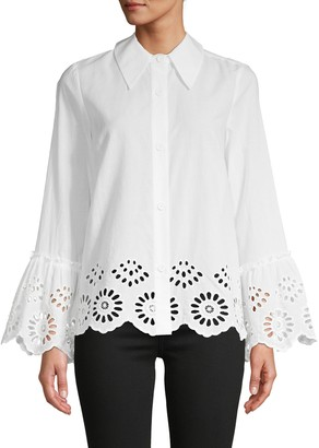 Central Park West Shandy Cotton Eyelet Shirt
