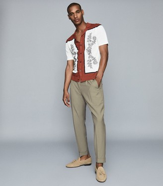 Reiss Bradie - Embroidered Cuban Collar Shirt in Copper