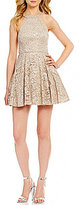B. Darlin High Neck Sequin Lace Skater Dress