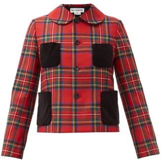 COMME DES GARÇONS GIRL Velvet-trim Tartan Wool Jacket - Red