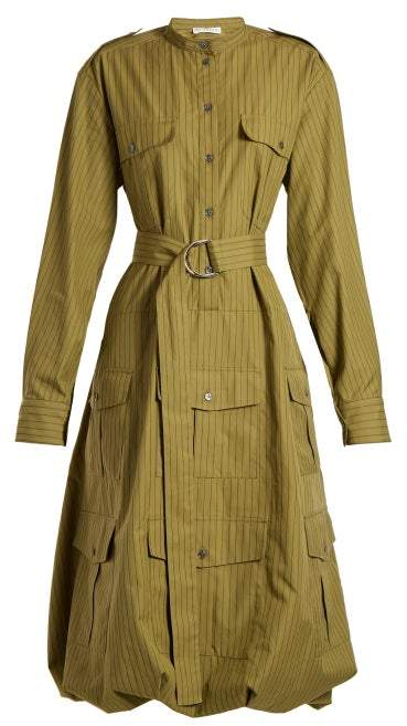 J.W.Anderson Pinstriped Belted Shirtdress - Womens - Khaki