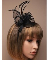 Inca Black Fascinator on Headband/ Clip-in for Weddings, Races and Occasions-5537