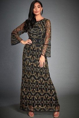 Jywal London Rose Black & Gold Embellished Evening Maxi Dress
