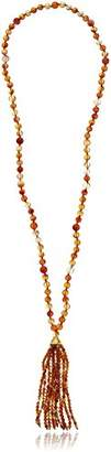 Kenneth Jay Lane Multi-Natural Bead Tassel Y-Shaped Necklace