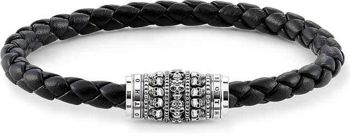 Thomas Sabo Unity plaited leather strung skulls bracelet