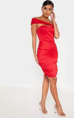 PrettyLittleThing Scarlet One Shoulder Ruched Side Bodycon Dress