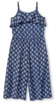 Cherokee Girls' Diamond Print Jumpsuit Blue