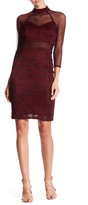 Marina Mock Neck Lace Short Dress