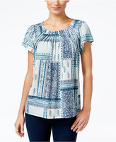 Style&Co. Style & Co Printed Pleat-Neck Top, Only at Macy's