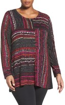 Nic+Zoe Plus Size Women's 'Dotted Lines' Long Sleeve Top