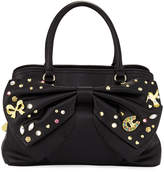 Betsey Johnson Embellished Bow Satchel Bag