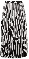 Proenza Schouler Zebra-jacquard Pleated Midi Skirt - Womens - White Black