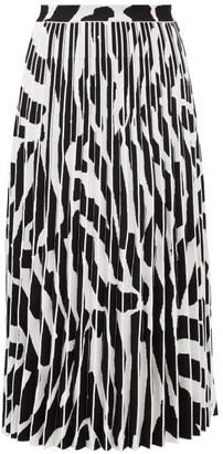 Proenza Schouler Zebra-jacquard Pleated Midi Skirt - White Black