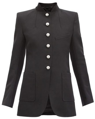 Paco Rabanne Single-breasted Stand-collar Wool Jacket - Black