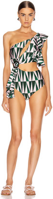 PatBO Geo Print One Shoulder Swimsuit in Green & Pink | FWRD