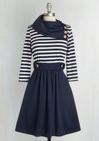 Coach Tour A-Line Dress in Stripes - 3/4 Sleeves in S