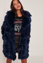 Missguided Navy Bubble Faux Fur Coat